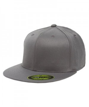 Flexfit Premium 210 Fitted Flat Brim Baseball Hat w/ THP No Sweat Headliner Bundle Pack - Dark Grey - C6185IGA2X0