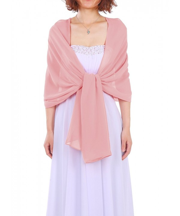 Dressystar Soft Chiffon Shawls Scarves for Bridal Evening Party 25 Colors - Blush - CL11QRJC4GN