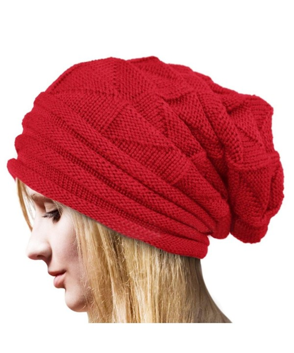AutumnFall Women's Winter Beanie Knit Crochet Ski Hat Oversized Cap Hat Warm (Red - Polar Fleece Lining) - CP12NZV0WZR