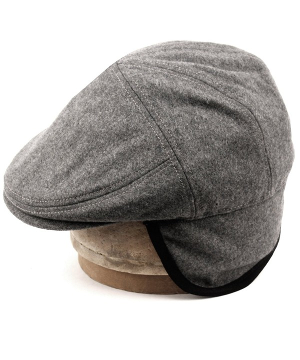 Epoch hats 100% Wool Herringbone Winter IVY Cabbie Hat w/Fleece Earflaps - Driving Hat - Charcoal Gray - C912NZAIGMP