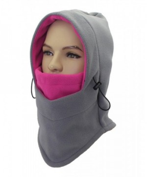 ZZLAY Balaclavas Hat Double Layers Thicken Caps Winter Warm Fleece Ski Face Mask - gray&red - C4185SZOI0H