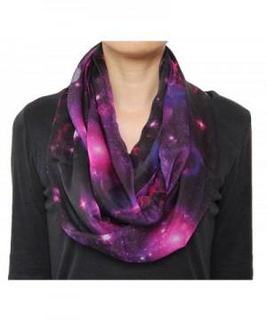 Fashion Nebula Galaxy little Twinkle Stars Print Chiffon Infinity Circle Scarf Purple - C6124A62K1H