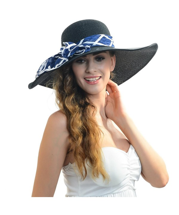 Fanny Women Straw Bow Wide Brim Sun Hat with Scarf W230 - Black - C611YWU6249