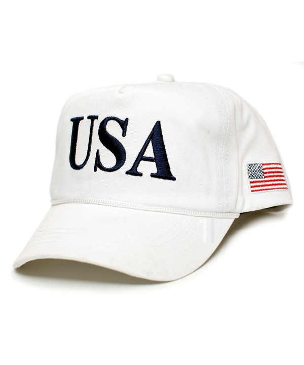 USA 45 Trump Make America Great Again Embroidered hat One Size Adult Red- White Cap - White - CM17YYWG2O6