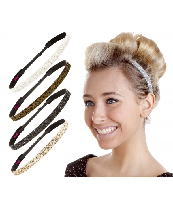 Hipsy Womens Adjustable Glitter Headband - Skinny Gold/Black/Silver/Brown/White 5pk - CS1274960KF