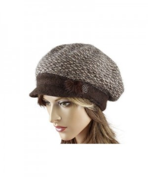 LA-EL COUTURE Womens Elegant Knitted decorated with some natural furBeret with visor warm - Brown - CB12CNXEB67