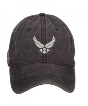 US Air Force Silver Logo Embroidered Washed Cap - Black - CQ126E0PLMX