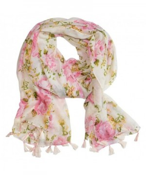 "Tickled Pink Vintage Romantic Roses Printed Oversized Scarf- Shawl with Fringe- 32 x 70"" - Pink - C8184ERNCHN"