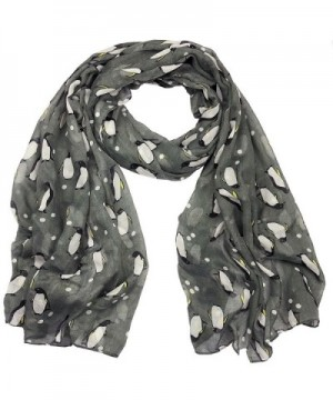Penguin Print Viscose Scarf CSJ-L-41 in A Free Gift Bag - Gy - C911Q4TW03N