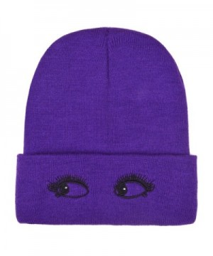 PZLE Winter Fleece Beanie Warm Slouchy Skull Cap Knitted Caps For Women Mens - Purple Eyes - C3186DH8LD7