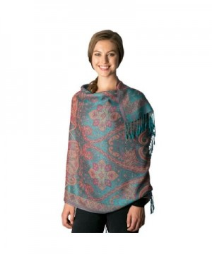 Fashion 21 Women's Multi Colored- Baroque- Paisley Pattern Pashmina Shawl Scarf - Baroque Pattern - Teal - CA185QCYTO0