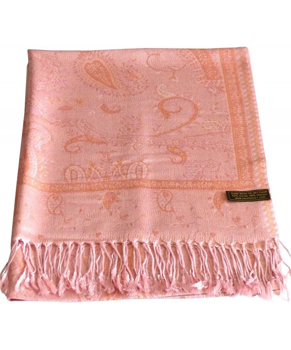 Kyelong Design 2 Ply Reversible Pashmina Shawl Scarf Wrap Stole CJ Apparel NEW - Coral Pink - CQ117YHJI7P