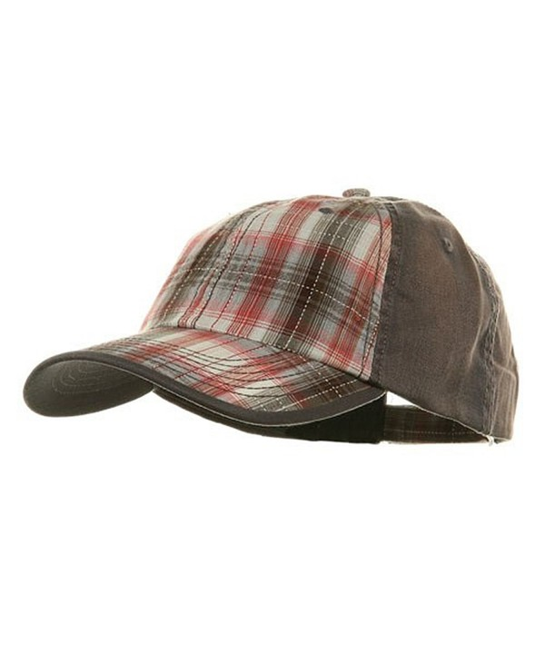 Low Profile Washed Plaid Cotton Cap - Grey W31S58A - CZ113RD5UWR