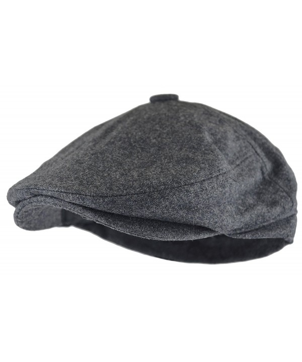 Deewang Fashion Men's Herringbone Tweed Solid newsboy Driving Cabbie- IVY Flat Cap - Grey-5panel - C712NU6GKGY