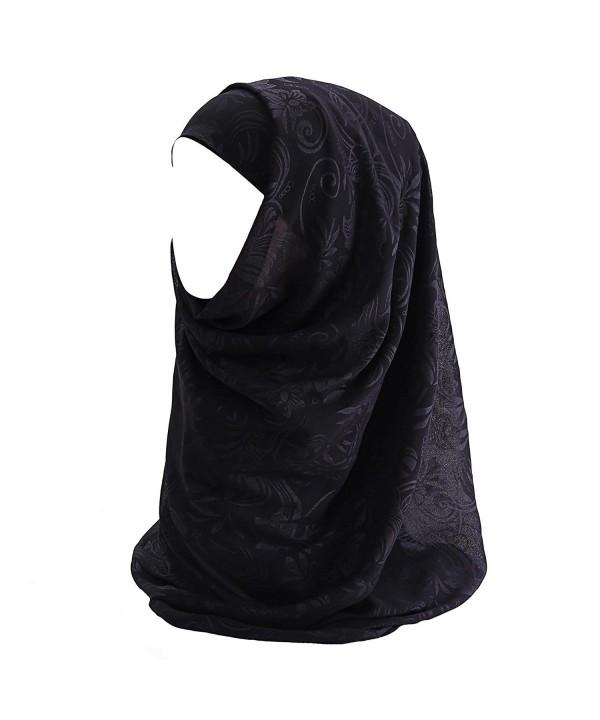 Lina & Lily Floral Chiffon Hijab Muslim Scarf - Black - CF185T5MD7H