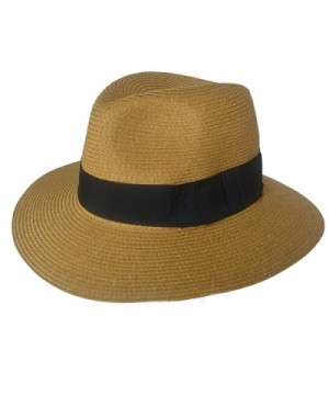 F019 Unisex Straw Fedora Trilby Packable Travel Sun Hat Brown - C111NCKIEOV
