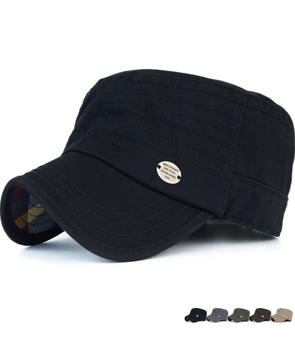 Rayna Fashion Unisex Adult Cadet Caps Military Hats Stripe Low Profile - Black - CT12ODJYFJD
