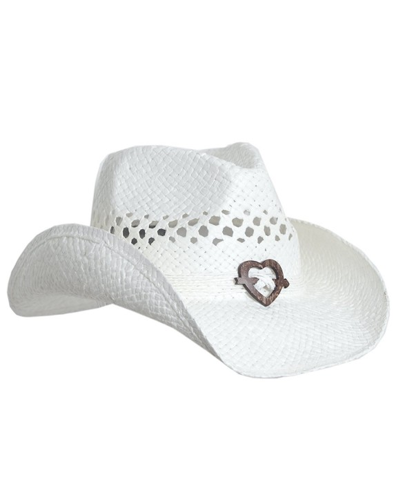 Boho Hip Cowboy Hat with Heart Concho- Natural Toyo Straw- Shapeable Brim - White - C311KLPTJ35
