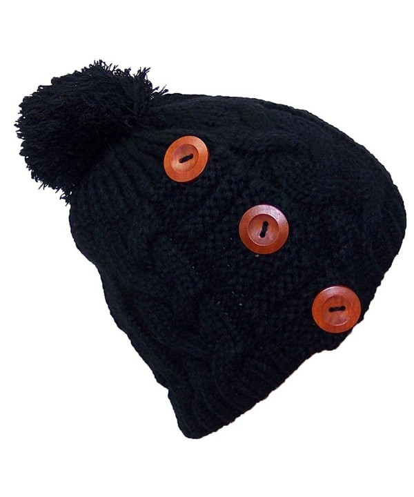 Best Winter Hats Adult Cable Knit Winter Hat W/Pom & 3 Buttons (One Size) - Black - CC11Q5DC1K5