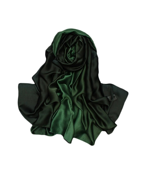 EUTERPE Women Long Silk Scarf Scarves Lightweight Shawl Wrap Gift for Her - Darkgreen - CE187KIKQS9