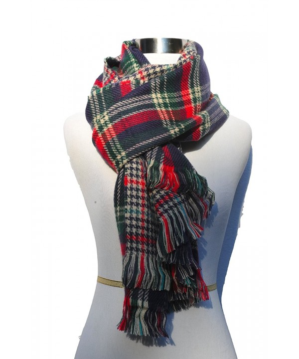 Izzy & Roo Reversible Plaid Scarf Plaid Shawl - Navy/Green - C1126HCC8HT