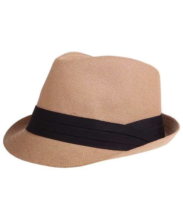 Enimay Vintage Unisex Fedora Hat Classic Timeless Light Weight - 2115 - Brown - CO185XKGQUN