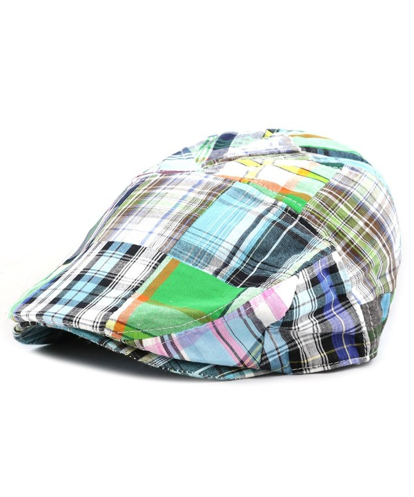 The Hat Depot New Multi Color Plaid Button Paisley Lining Newsboy Ivy Hat - Green - CW12ENVF48V