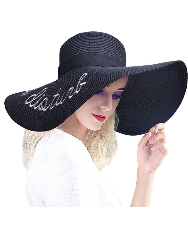 PardoBed Womens Embroidery Floppy Bucket Summer Kentucky Derby Sun Hat Lettering Straw Hat - Black - C717YZN5TQK