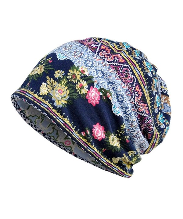 Erin's Town Oversized Open Baggy Daily Slouchy Beanie Fall Hat Chemo Infinity Scarf Turban - Blue Floral - C3186G2CA7A