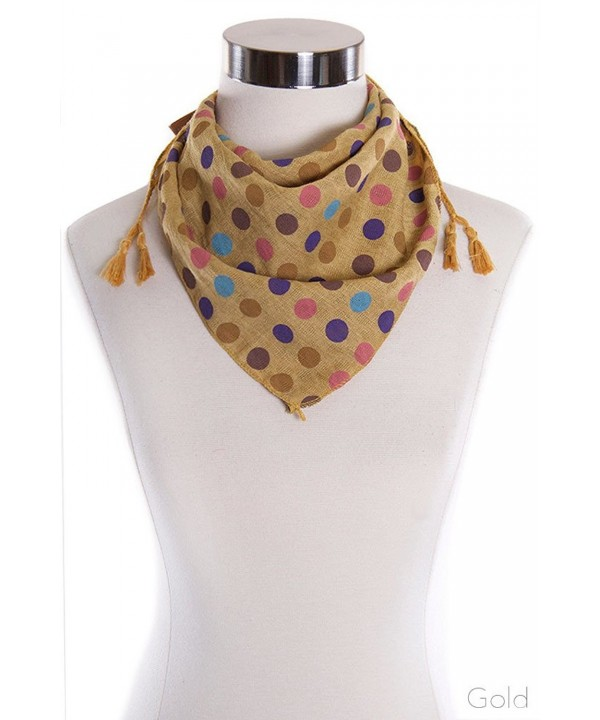 ScarvesMe Colorful Poka Dot Fashion Bandana with Tassel Accent Neckerchief Scarf - Gold - CU17XWEE3L2
