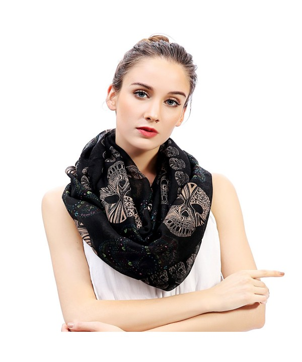 Lina & Lily Sugar Skull Print Women's Infinity Scarf - Black - C211SG2ZWTF