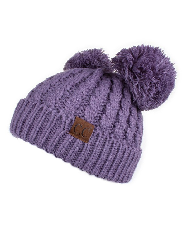 Hatsandscarf CC Exclusives Cable Knit Double Pom Winter Beanie(HAT-60) - Violet - CC189LH3MSX