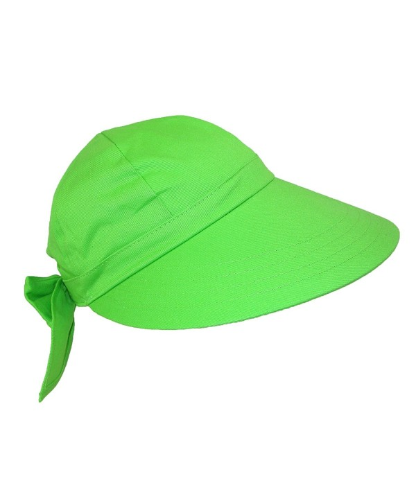 CTM Women's Cotton Wide Brim Facesaver Sun Visor Hat - Lime Green - CM12G0FHMBZ