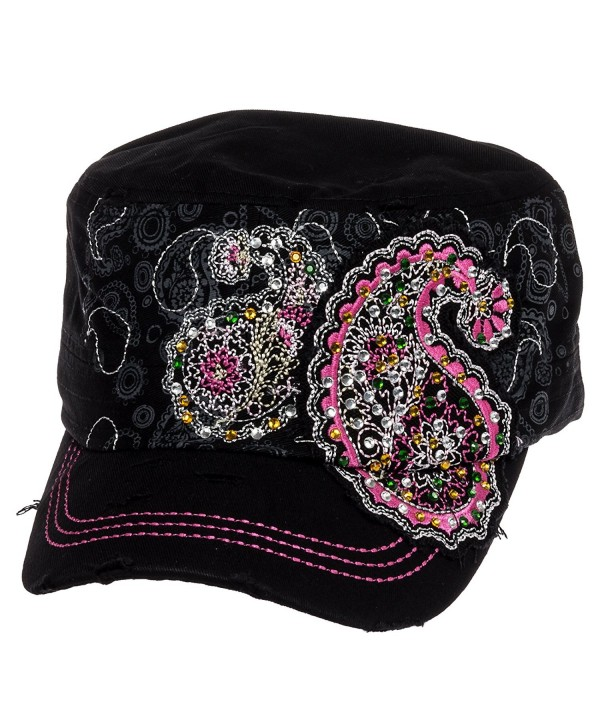Crystal Case Womens Cotton Rhinestone Paisley Cadet Cap Hat - Black - CN11OHXPY1D
