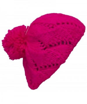 Papillon Hand Knit Solid Color Twist Knit Winter Beret W/Large Pom Pom(One Size) - Neon Pink - CD11P3DFOS9