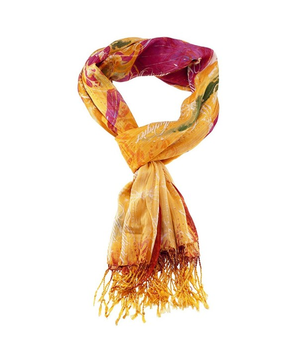 Christian Audigier Women's Soft Fabric Fringe Scarf Print Colors - Orange/80x40 - CI11DI6A9PP