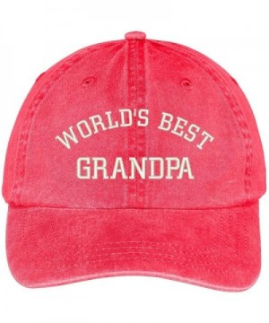 Trendy Apparel Shop World's Best Grandpa Embroidered Pigment Dyed Low Profile Cotton Cap - Red - CO12GPQXLX7