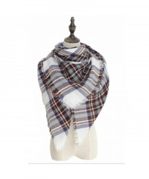 Smiry Womens Stylish Soft Winter Warm Large Tassels Plaid Wrap 55 Inches - White Coffee - CB1860MS76E