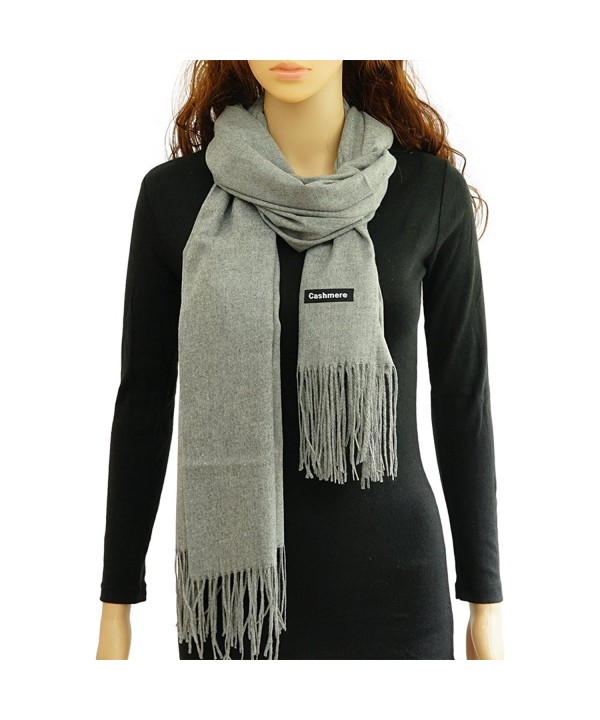 Cashmere Scarf With Tassel Super Soft Warm Blanket Shawl Wrap for Women & Men - Gray - CN186TTA6RH