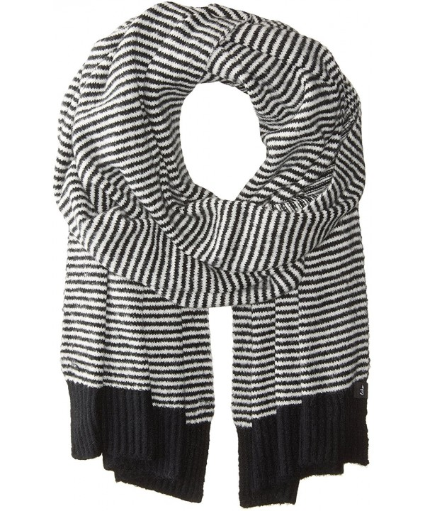 Echo Women's Soft Stretch Knit Mini Stripe Winter Scarf - Black - C81827RZ0UU