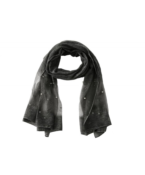 Pink Lady Women's Designer Sheer Scarf (Oversized) Luxury Shawl and Shoulder Wrap - Black - CT180RDDDE3