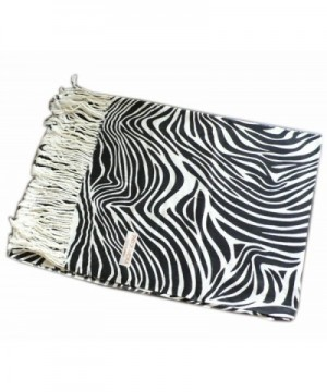 WHITE BLACK PRINTED PASHMINA SHAWL in Wraps & Pashminas