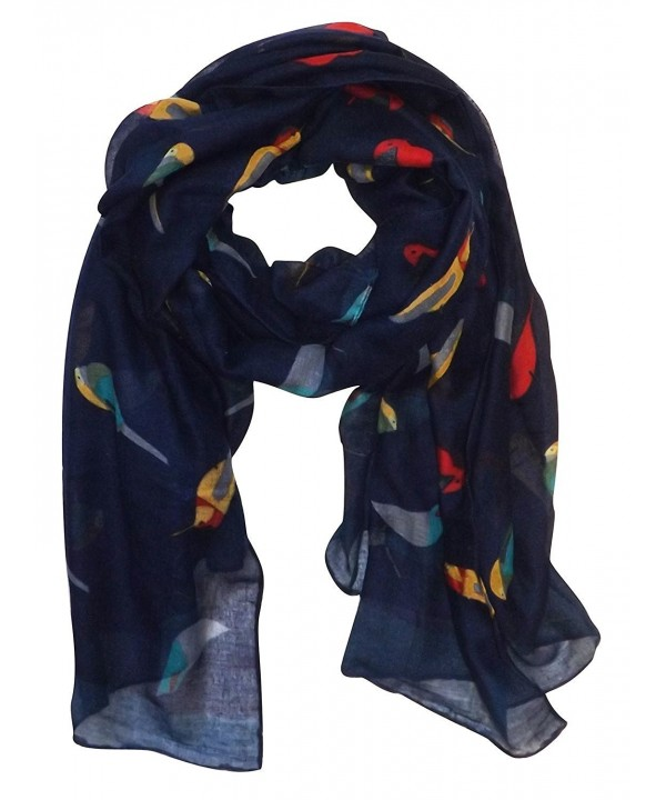 Peach Couture Cute Vintage Lightweight Graphic Finch Bird Print Scarf - Navy - C711UIES3J5