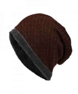 Tomily Slouchy Knit Beanie Hat Soft Fleece Lined Winter Warm Skull Cap - Wine Red - CJ12MBM0R4P