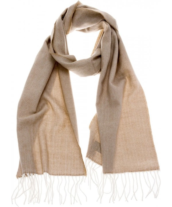 SilverHooks Chevron Stripes Soft & Warm Cashmere Scarf w/ Gift Box - Ivory Herringbone & Chevron - CN186ZL7QZK