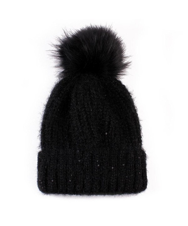 Tuscom Fashion Women Keep Warm Knitted Wool Hemming Hat - Black - CX12N8QOR57