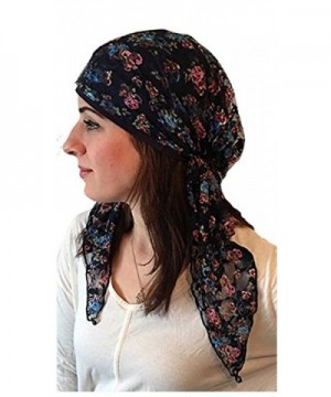 Beautiful Soft Fancy Lace Headscarf Jersey Material Fashion Hair Wrap- One Size Fits Most - Blue - CO12E4MLJ2J