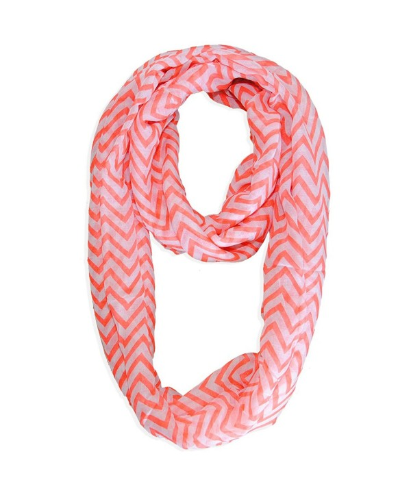 Basico Lady Chevron Scarf Infinity Stylish Soft Wrap Long - Coral - CF11KMU9MAX