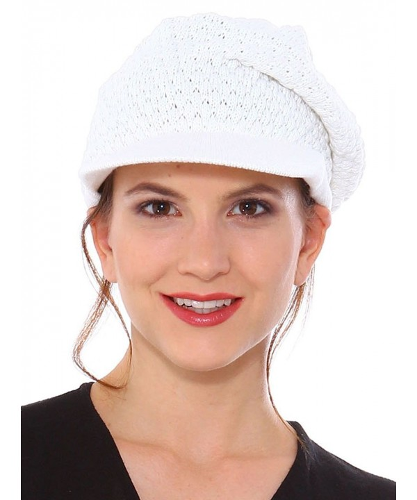 Simplicity Women's Winter Cotton Knit Slouchy Beanie with Visor - 1136_white - C411P4ZRY7F