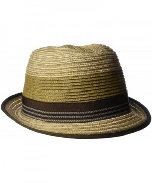 Henschel Men's Crushable Braided Strips Fedora with Contrasting Loop Band - Brown - C112H9AL9RH